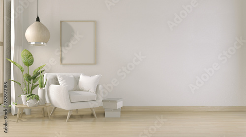 Photographie  poster mock up living room interior with armchair sofa on room design minimal design