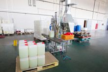 Belarus, The City Of Mensk, April 12, 2019. Chemical Production.Plastic Packaging Packaging Conveyor.