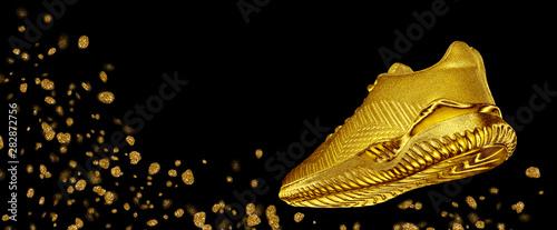 Banner golden sneaker with flying sparkles Fototapeta