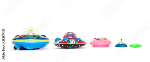 Fotografia, Obraz A line of ufo toys in a line isolated