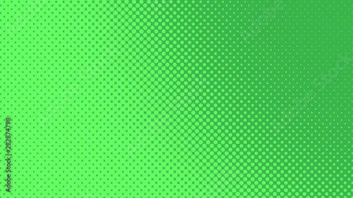 Fotografie, Obraz  Green pop art background with dots design, abstract vector illustration in retro