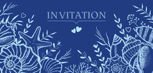 Seashells And Seaweed On A Dark Blue Background. Template For Postcards, Invitations.