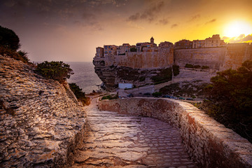 city of Bastia seen at sunset, famous ancient village in Corsica.