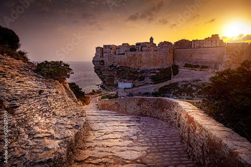 city ​​of Bastia seen at sunset, famous ancient village in Corsica.
