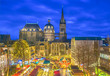 canvas print picture - Aachen Cathedral with Christmas market during blue hour