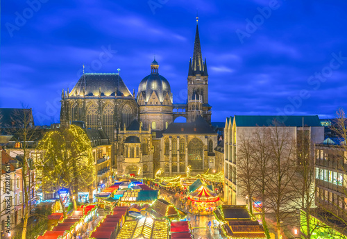 Aachen Cathedral with Christmas market during blue hour Canvas Print