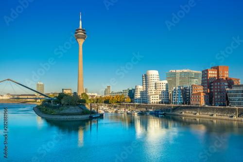 Medienhafen (Media Harbour) with Rheinturm TV tower in Düsseldorf Fototapeta