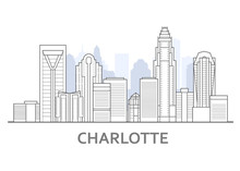 Charlotte Skyline, North Carolina - Panorama Of Charlotte, Downtown View