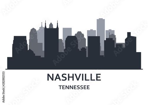 Obraz Silhouette of Nashville city, Tennessee -   cityscape of Nashville, skyline of downtown - fototapety do salonu