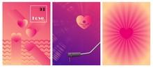 Minimal Velentine's Day Card Design. Pink Halftone Gradients Background. Love Vinyl Player. Abstract Heart