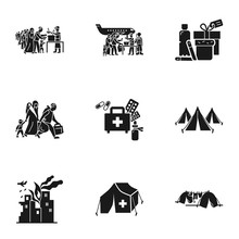 Migrant Refugee Icon Set. Simp...