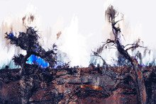 Abstract Digital Painting Of Trees In Desert , Illustration Of Trees For Background