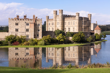 Leeds Castle Fortress England Moat Reflection
