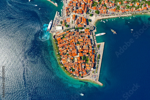 Fotografie, Tablou Birds Eye View of Korcula Old Town