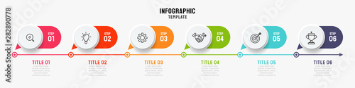 Obraz Timeline infographics template. Business concept with 6 steps, options and marketing icons. Can be used or workflow layout, info chart, process diagram. Vector illustration. - fototapety do salonu