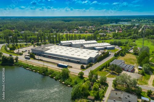 Fotografía  Aerial view of goods warehouse