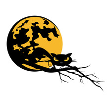 Black Cat Crawling On Bare Tree Branch Against Full Moon - Halloween Theme Vector Design