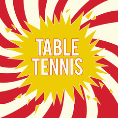 Word writing text Table Tennis. Business concept for Indoor game played with small bats and a ball bounced.