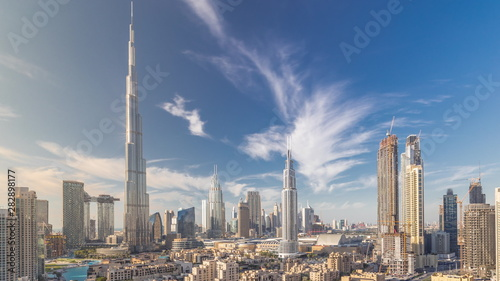 Fotografie, Obraz Dubai Downtown skyline timelapse with Burj Khalifa and other towers paniramic vi