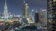 Beautiful skyline of Dubai downtown and Business bay with modern architecture night timelapse.