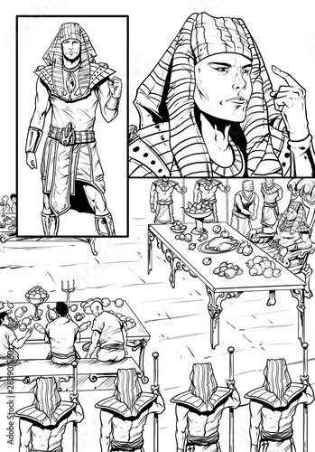 Fotografia The Pharaoh and His Banquet Drawing