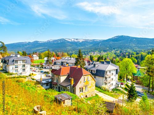 Fototapeta Szklarska Poreba and Giant Mountains on background, Poland obraz