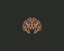 Abstract Royal Tree Vector Logo Icon. Park Nature Crown Logotype.
