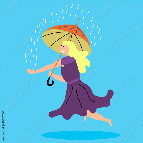 Cuadros en Lienzo The girl levitates with an umbrella