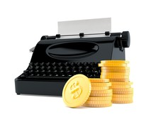 Typewriter With Stack Of Coins