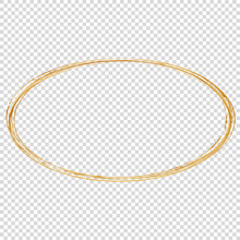 Golden Oval Frame Isolated On Transparent Background