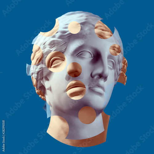 Fotografia Modern conceptual art poster with ancient statue of bust of Venus