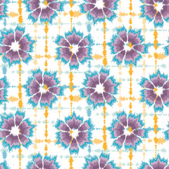 Seamless pattern tie dye shibori flower circle rings. Colorful boho summer ba...