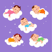 Baby Sleep On Cloud Vector Ill...