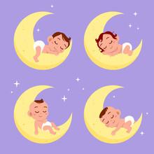 Baby Sleep On Moon Vector Illustration