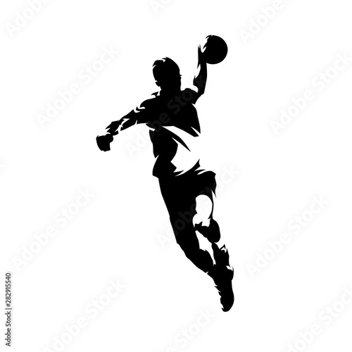 Handball player throwing ball and scoring goal, ink drawing isolated vector silh Fototapeta