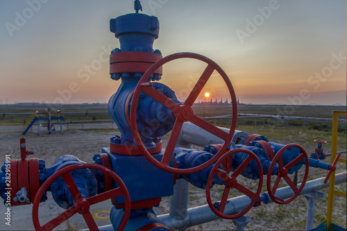 Photo Group wellheads and valve armature , Gas valve, Gas well of high pressure, a wellhead with valve armature