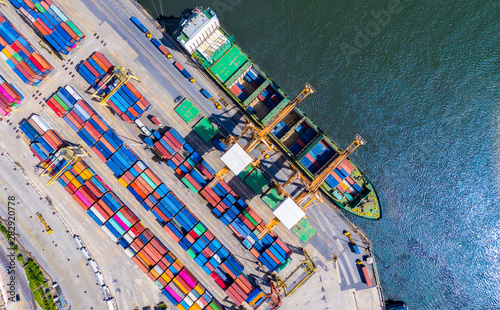 Montage in der Fensternische Barcelona Logistics and transportation of Container Cargo ship and Cargo import/export and business logistics, Shipping , Top view ,Aerial view from drone