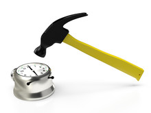 Hammer Hitting The Alarm Clock, Isolated On White. 3D Rendering