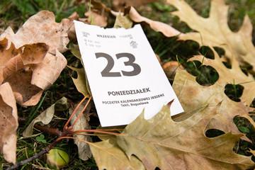 23 wrzesień. Początek kalendarzowej jesieni. Kalendarz.