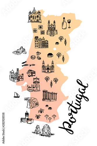 Drawing Portugal map with portuguese cities, buildings and landmarks Wallpaper Mural