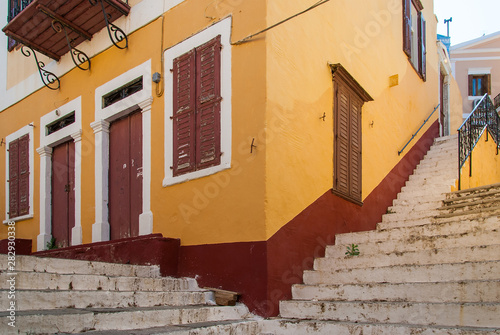 Old house on narrow street Symi
