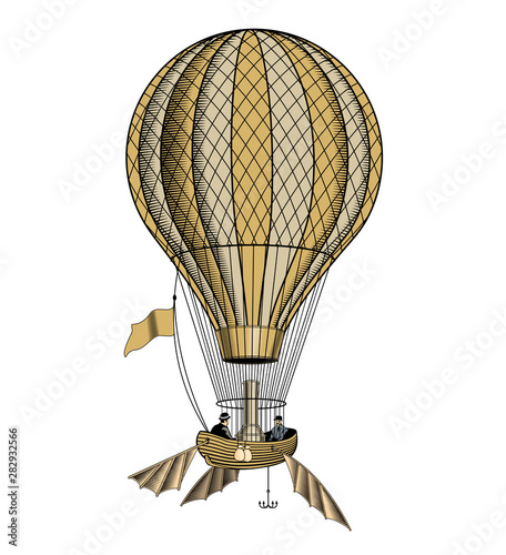 Obraz na plátně Vintage hot air balloon or aerostat, vector illustration.