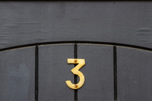 House Number Three In Gold On ...