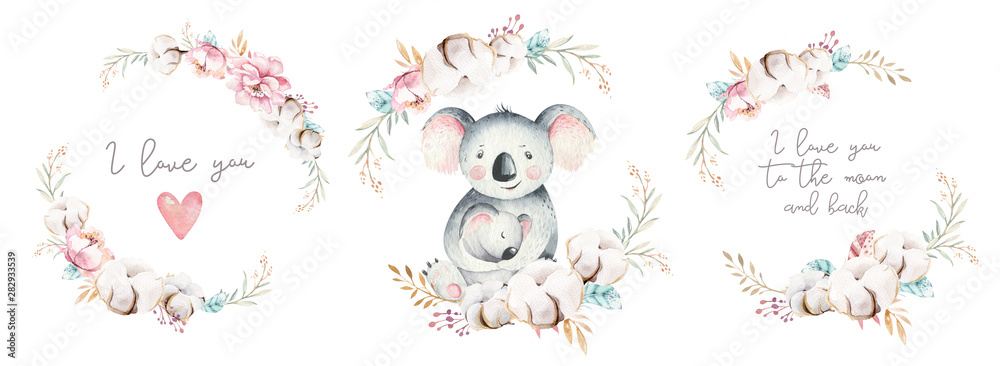 Fototapeta Watercolor cute cartoon little baby and mom koala with floral wreath. Isolated tropical illustration. Mother and baby design. Animal family. Kid love birthday drawing