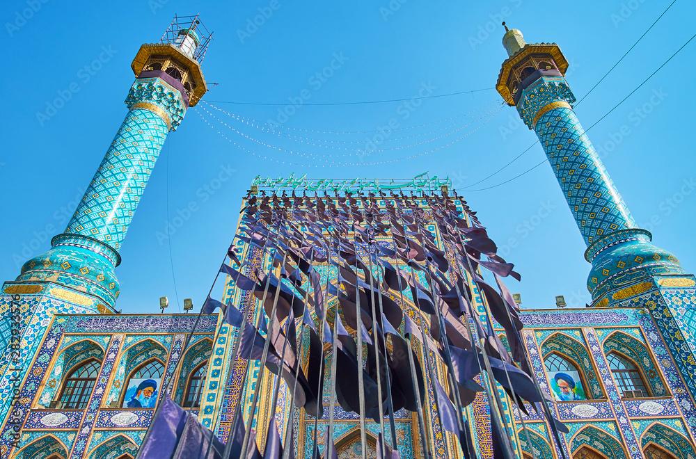 Fototapety, obrazy: Ashura flags in Tajrish Square and on Imamzadeh Saleh Holy Shrine, Tehran, Iran