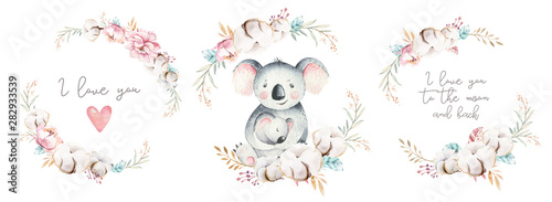 Fototapeta Watercolor cute cartoon little baby and mom koala with floral wreath. Isolated tropical illustration. Mother and baby design. Animal family. Kid love birthday drawing obraz