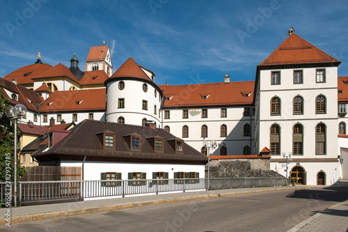 Staande foto Oude gebouw Füssen, Germany - 20 July 2019; The entrence of the city Füssen a touristic town in south Germany, bavaria