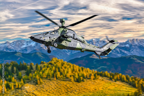 German military armed attack helicopter in flight Wallpaper Mural