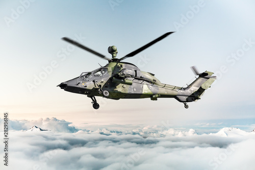 Acrylic Prints Helicopter German military armed attack helicopter in flight