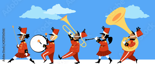Fotografia, Obraz Cute children playing instruments in a marching band parade, EPS 8 vector illust